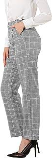 Allegra K 女式工作办公室格子裤弹性腰宽松休闲长裤
