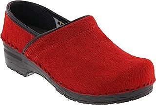 Bjork 女式专业红色皮毛洞洞鞋