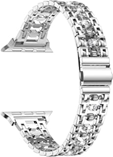 wootfairy 不锈钢表带兼容 Apple Watch 表带 38 毫米 40 毫米 SE 女式 IWatch 系列 4 系列 3 系列 2 1 配件 金属腕带 银色 38 / 40 毫米