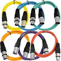 Seismic Audio SAXLX-2-6 件装 2 英尺 多色 XLR 公头到 XLR 母接插线,平衡线