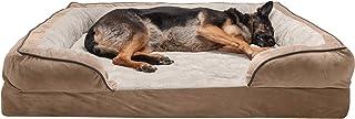Furhaven 宠物狗床 – *泡沫毛绒天鹅绒波浪完美舒适传统沙发风格客厅沙发宠物床带可拆卸枕套,适用于狗和猫,棕色石,Jumbo Plus