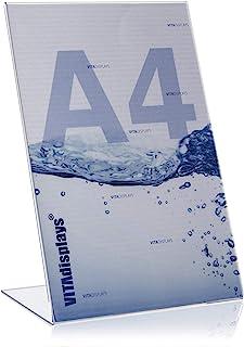 5 × VITAdisplays® DIN A4 L支架 / 广告展示架,倾斜,PLEXIGLAS®,透明