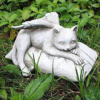 Putdigei 宠物纪念礼品,手工制作猫纪念石,天使猫纪念雕像,花园树脂睡猫装饰,适合猫过家礼物