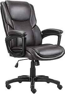 PU 皮革行政办公椅,符合人体工程学的电脑椅旋转中背现代桌椅带脚轮高度倾斜可调节软垫扶手椅滚轮凳,360 度滚动厚
