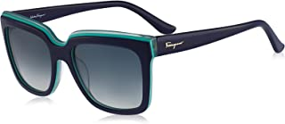 Salvetore Ferragamo 女式拼色太阳镜,蓝绿色,均码