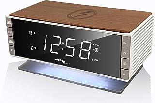 Technoline Qi 充电面板复古WT487无线充电器,木质外观,16.5 x 8 x 9.3厘米