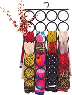 KLEAFS 衣橱围巾挂钩,手工围巾衣架 28 个环,环挂钩,衣橱多用途支架 - 去除杂乱空间 - 节省披肩、腰带和配饰的衣架