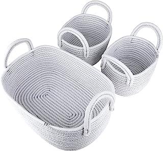 LA JOLIE MUSE 14 英寸(约 35.5 厘米)棉绳编织储物篮 3 件套,多功能收纳盒,带把手,白色带锯齿线图案