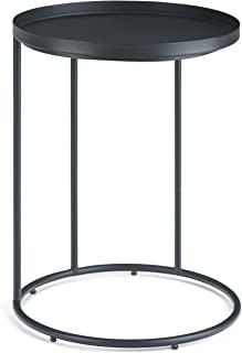 Simpli Home Monet 现代工业 45.72cm 宽金属边桌,黑色,完全组装,末端,重点,床边桌,适用于客厅和卧室