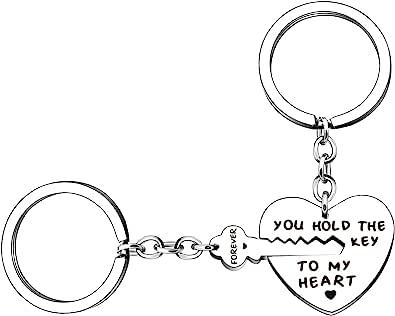 YONGHUI 情侣钥匙扣钥匙扣套装 You Hold The Key To My Heart Forever 男友女友丈夫妻子生日情人节圣诞礼物