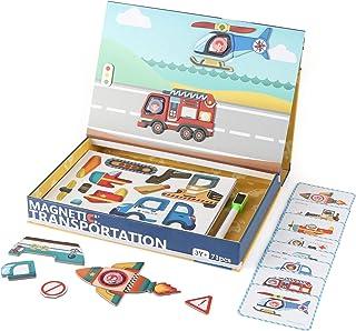 Steventoys 磁性移位拼图,磁性车辆书籍,适合幼儿,储物箱玩具,学习教育蒙特梭利玩具,适合 3 岁以上男孩和女孩