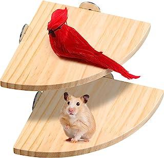 Sumind 2 件鸟类支架平台鸟笼平台鸟栖息地平台扇形木栖息地 适用于小动物鸟 燕雀仓鼠鹦鹉 Gerbil Lovebird 长尾鹦鹉笼配件