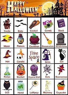 万圣节宾果儿童游戏 - 万圣节宾果套装,适合成人和家庭派对活动 - 万圣节工艺教室学校用品桌面游戏