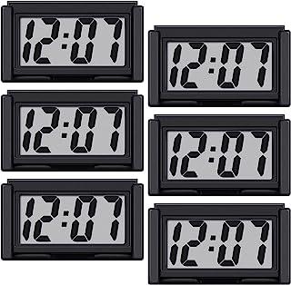 迷你汽车时钟汽车仪表板时钟自动汽车卡车仪表板时间车辆电子数字时钟自粘支架数字时钟(6 件)