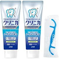 Clinica 牙膏 柑橘薄荷味 130克×2个+牙线1根 【Amazon.co.jp限定】