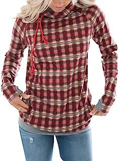 Paitluc 女士连帽衫格子圣诞圆领套头运动衫红色尺码 2XL