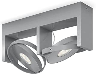 Philips myLiving Particon 保暖发光可调光 LED 聚光灯,4.5 W LED 灯,易于安装,即时启动 - 铝 铝 Twin Spot Bar 915005306801