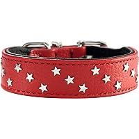 HUNTER CAPRI MINI STARS 狗狗项圈,高品质纳帕皮革,柔软舒适 红色 42 (S-M)