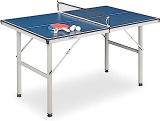Relaxdays 室内乒乓球桌 中号 带网面 2 个球拍 3 个球 乒乓球桌 高宽深:71 x 75 x 125 厘米 蓝色
