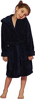 男童和女童连帽长袍毛绒细绒浴袍,土耳其制造