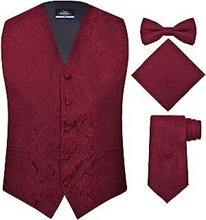 S.H. Churchill & Co. 男式 4 件套佩斯利背心套装,含领带、领带和口袋女王