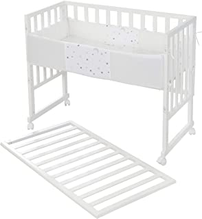 roba 3 合 1 Safe Asleep,白色,适用于所有父母高度,包括通风床垫,通风床垫和屏障。