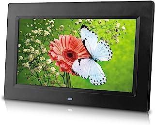 10 英寸数码相框(黑色),高分辨率,各种过渡效果,幻灯片显示,间隔时间可调,插入 SD 卡或闪存盘访问和显示您的照片。