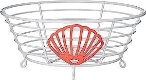 Inspired Living by Mesa 灵感客厅碗厨房篮 白色/红色海滨系列水果篮,