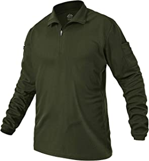 Rdruko 男式战术长袖 Polo 衫,适合户外表演军事徒步衬衫,1/4 拉链