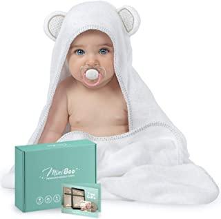 Miniboo *竹制连帽婴儿毛巾 - 超柔软超吸水婴儿浴巾 适用于新生儿、婴儿和幼儿 - 适*为婴儿礼物
