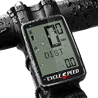 CYCLESPEED 可充电自行车电脑无线,防水里程表,数字 LCD 背光显示自行车节奏传感器,自行车电脑秒表,适用于 MTB 公路自行车