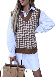 Aleumdr 女式圆领背心高低不对称下摆休闲宽松无袖束腰衬衫