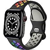 Lerobo 兼容 Apple Watch 表带 40 毫米 38 毫米,柔软硅胶运动表带,透气腕带替换表带,适用于 i…