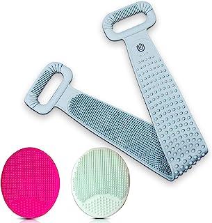 超长硅胶背部磨砂膏,带洁面刷 | 淋浴背部磨砂 | 硅胶身体磨砂 | 面部去角质、后刮、浴室配件 | 去除污垢并软化皮肤
