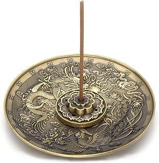 Jovivi 黄铜香*盒 - Lotus Stick 香*燃烧器和锥体香*盒 Dragon and Phoenix Incense 棒座(青铜) AJ101010100961