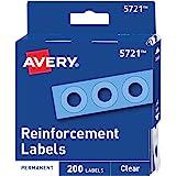 Avery 透明自粘加固标签,圆形,200 张 (5721)