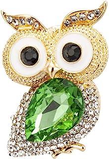 Knighthood 金色和白色石材细节幸运猫头鹰 绿色半宝石胸针