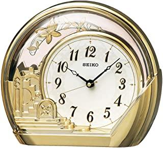 セイコークロック 置き時計 金色光沢 本体サイズ:18.4×21.2×7.5cm アナログ 飾り振り子 PW428G