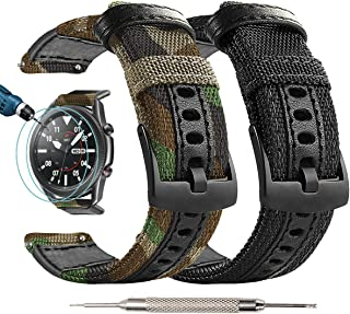 Maxjoy 兼容 Galaxy Watch 3 45 毫米表带、Galaxy Watch 46 毫米表带、Gear S3 表带 S3 Frontier 经典尼龙 22 毫米替换表带兼容三星 Galaxy Watch 3 45 毫米 SM-R8...