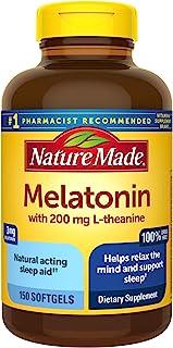Nature Made 褪黑素3毫克,含200毫克L-茶氨酸软胶囊,150粒(包装可能有所不同)