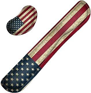 Meffort Inc 游戏键盘手腕垫和鼠标腕托垫支撑组合套装 – 耐用的人体工程学防滑底座 美国国旗