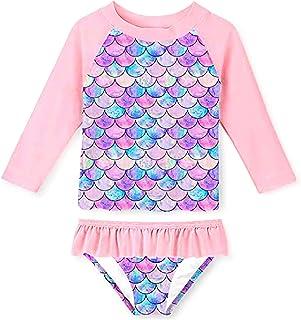 SLYRAIME 女童夏季美人鱼印花两件套分体泳衣泳装