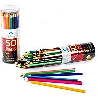 Bellofy 成人和儿童彩色铅笔 - 50 支装成人着色书着色铅笔 - 预削的、充满活力的彩色铅笔,适合成人着色、艺术…