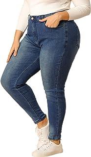 uxcell Agnes Orinda 女士加大码拉链门襟中腰紧身破洞牛仔裤
