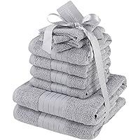 dreamscene 奢华 埃及长绒棉10件套浴室毛巾捆 FACE 沐浴手工礼品套装,银灰色,10-piece