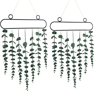 Sggvecsy 人造桉树墙壁装饰 2 件装壁挂桉树*悬挂墙壁装饰带金属框架和绳子,用于窗户公寓浴室卧室厨房办公室装饰