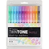 Tombow Twintone 马克笔套装,明亮,12 只装双头 均码 Pastel