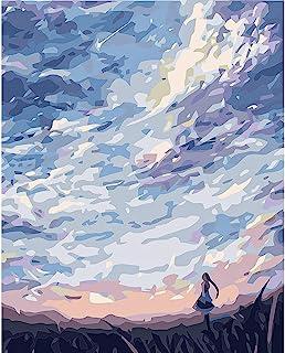 DIY 成人数字绘画套装,适合成人和儿童初学者,40.64 x 50.80 厘米彩色帆布油画,带刷子和丙烯酸颜料。