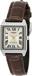 Casio 卡西欧 LTP-V007L-9B 女式矩形皮革表带罗马金色表盘礼服手表