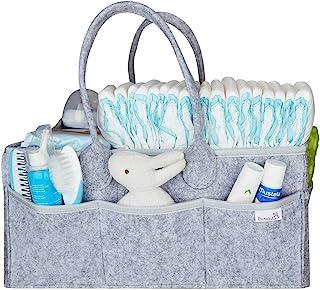 Putska 婴儿尿布盒收纳袋 - 婴儿送礼会、托儿所收纳、中性婴儿礼品篮、尿布更换桌收纳盒,带围嘴和奶嘴夹。 Diaper Caddy